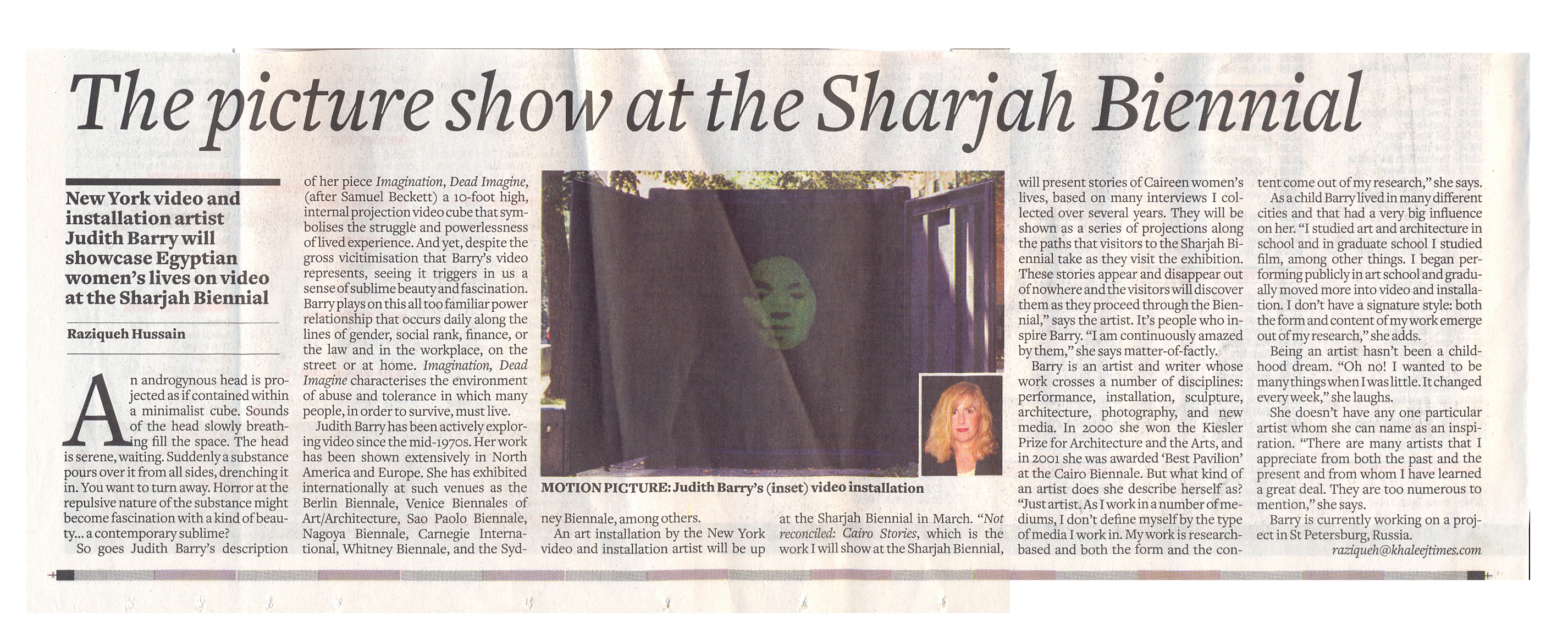 Judith Barry in Khaleej Times
